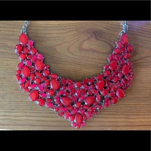 Red Stone Bib Statement Necklace & Earrings